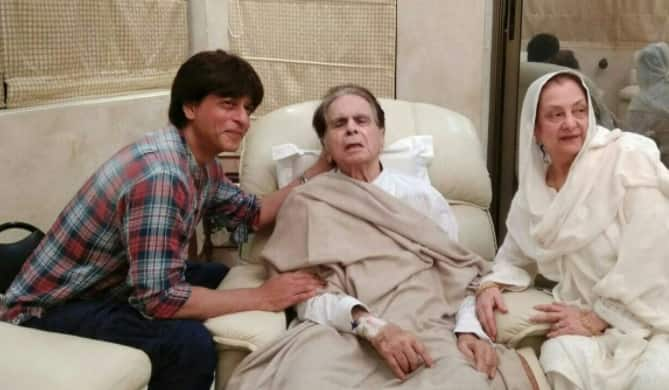 'Son' Shah Rukh Khan pays visit to ill Dilip Kumar, see pics