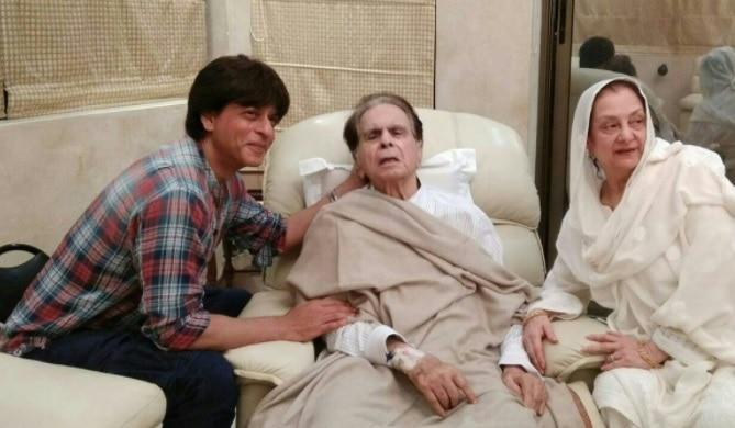 'Son' Shah Rukh Khan pays visit to ill Dilip Kumar, see pics
