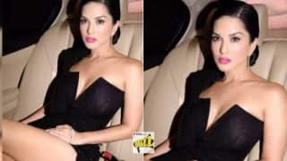 Sunny Leone in Thigh High Slit Sexy Black Gown Sets Temperature Soaring! See Hot Picture