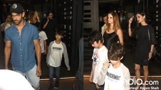 Ex-couple Hrithik Roshan And Sussanne Khan Spotted With Hrehaan And Hridhaan On A Dinner Outing-View Pics