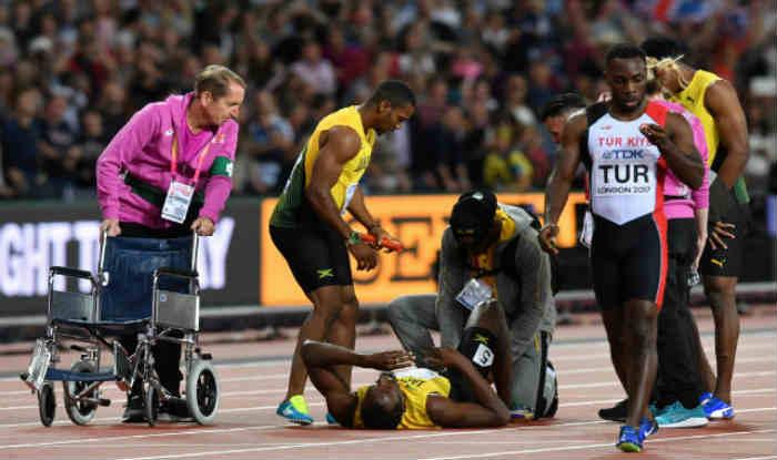 उसेन बोल्ट अपनी आखिरी 4x100 मीटर की रेस चोटिल होने की वजह से पूरी नहीं कर पाए (Getty)