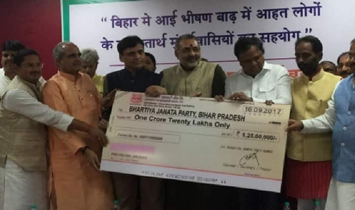 The cheque was handed over to Bihar BJP an event organised in Mumbai on Saturday (image: Twitter)