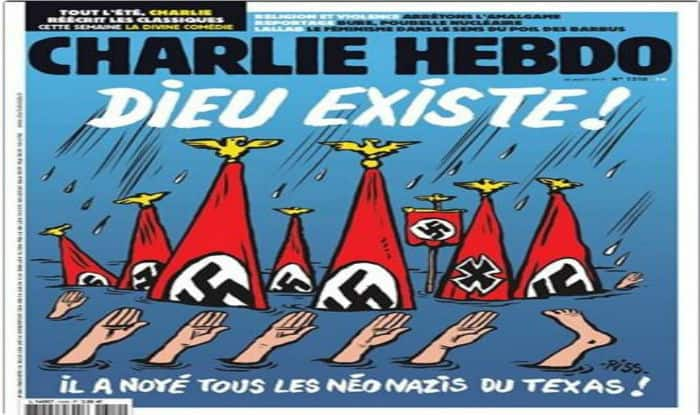 'God Exists!' Charlie Hebdo Cartoon Depicts Harvey Victims as Drowning Neo-Nazis
