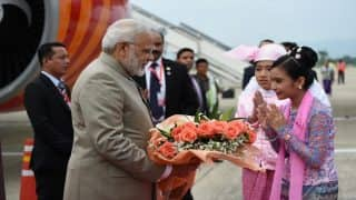 PM Narendra Modi Reaches Myanmar on First Bilateral Visit; Rohingya Crisis, Infrastructural Projects Top on Agenda