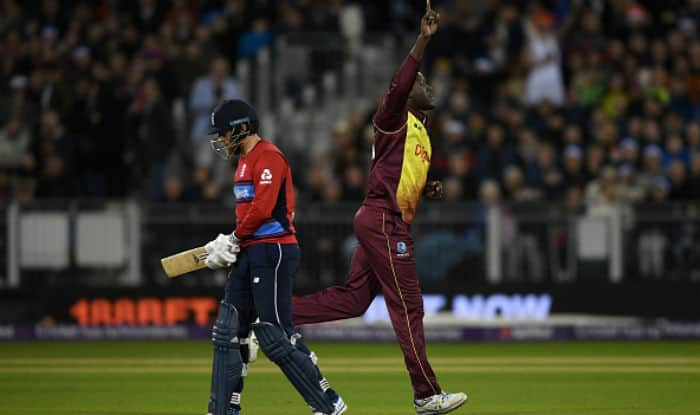 Carlos Brathwaite celebrates dismissing Jonathan Bairstow during the T20I match between England and Windies | Getty Images