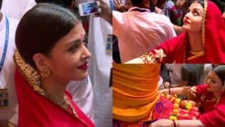 Aishwarya Rai Bachchan Looks Mesmerising In A Red Saree As She Visits Lalbaugcha Raja (View Pics)
