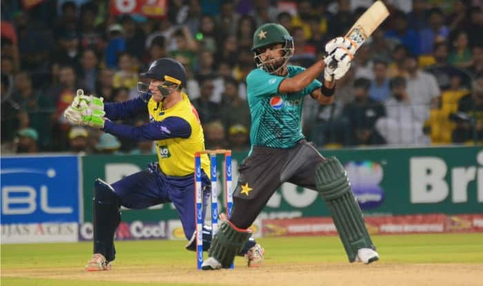 Babr Azam plays a shot. (PCB)