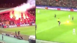 Referee Narrowly Escapes Burning Flare During Champions League Match, Watch Video