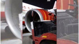रनवे पर फिसला एयर इंडिया का विमान, वाहन से टकराया