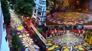 Kolkata Preps For Durga Puja 2017 With Longest Street Rangoli: Pictures of 'Alpana' Will Leave You Mesmerized