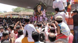 Ganpati Visarjan Photos From Mumbai: Devotees Bid Farewell to Lalbaug Cha Raja With Colourful Processions