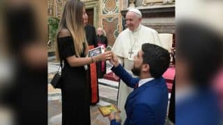 Venezuelan Man Proposes To Girlfriend In Front Of Pope Francis At The Vatican (Watch Video)