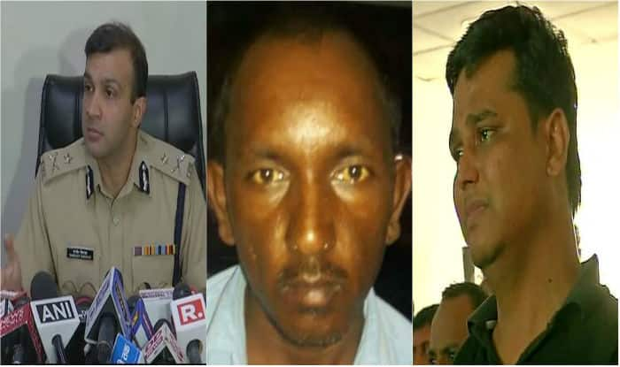 From left to right - Gurugram Police Commissioner Sandeep Khirwar, bus conductor Ashok Kumar, victims father. (Image: ANI)