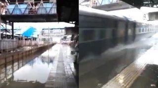 Mumbai Rains: Train Dashes Through Flooded Tracks At Nallasopara Station, Splashes Water on Commuters (Watch Video)