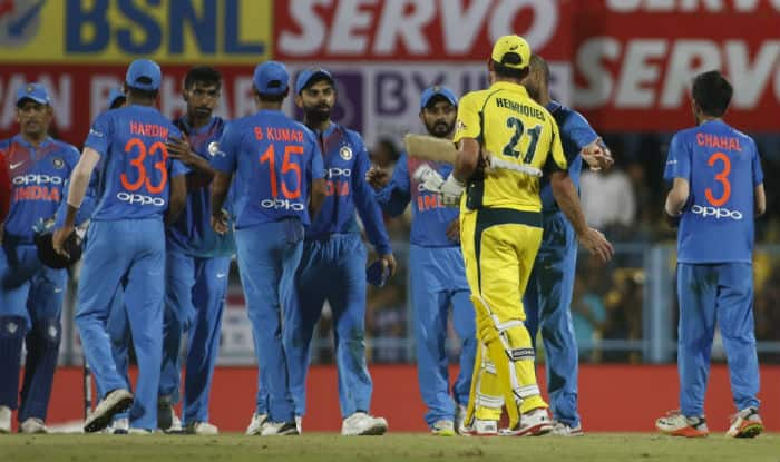 Indian & Australian players shake hands after the 2nd T20I | IANS Photo