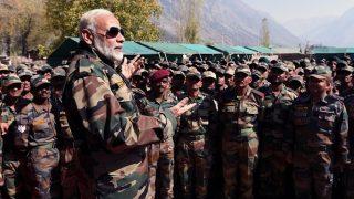 PM Narendra Modi Visits Gurez Valley to Celebrate Diwali: Calls Army Jawans 'Family', Brings up OROP