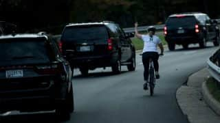 Photo Of Woman Cyclist's Gesture At US President Donald Trump As His Motorcade Passes Goes Viral