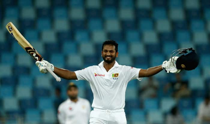 Dimuth Karunaratne celebrates after scoring a century | Getty Images