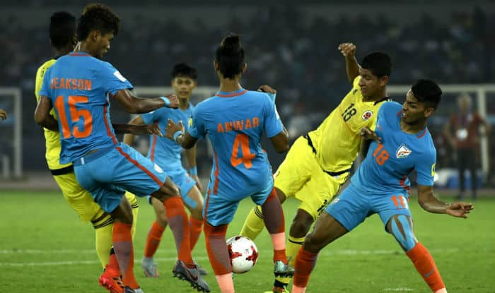 India & Colombia players in action during FIFA U17 World Cup 2017 | IANS Photo