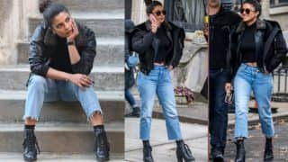 Priyanka Chopra's Black Leather Jacket With A Fur Collar Is Something Every Girl Would Want In Her Closet - View Pics