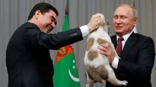 Russian President Vladimir Putin Gets a Dog as Gift From Turkmenistan's President