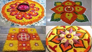 Simple Rangoli Designs For Diwali 2017 with Marigold Flowers: Make Easy Floral Deepavali Rangoli Patterns