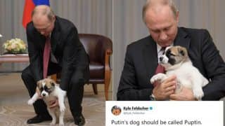 Vladimir Putin Receives A Pup As Birthday Present From Turkmenistan President Gurbanguly Berdimuhamedov, Twitterati Creates Hilarious Memes