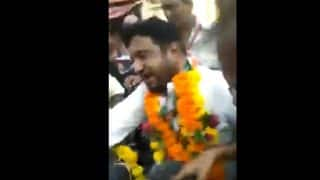 Congress MLA Gyasuddin Shaikh Garlanded With Shoes During Ahmedabad Rally Against Fuel Price Hike, GST