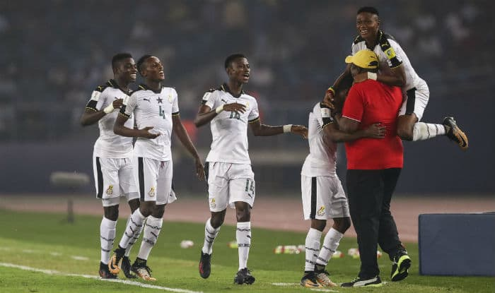 File image of Ghana players celebrating with their coach. (FIFA Twitter)