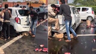 In Dry State Gujarat Car Carrying Illegal Liquor Meets With Accident: Spilled Beer Cans Looted