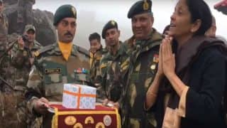 Nirmala Sitharaman Greets Chinese Soldiers With a 'Namaste' at Nathu La: Watch Video