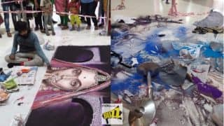 Deepika Padukone's Padmavati Rangoli in Surat Destroyed By Barbaric Protesters Ahead of Diwali 2017: See Before & After Pictures