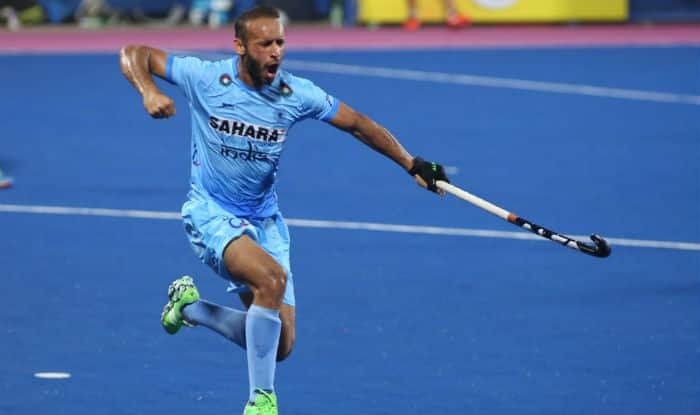Ramandeep Singh celebrates his goal. (Twitter: Hockey India)