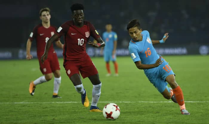 Representative image of Indian Players in action during a FIFA U-17 World Cup 2017 Group A match between India and USA at Jawaharlal Nehru Stadium in New Delhi | Photo: IANS