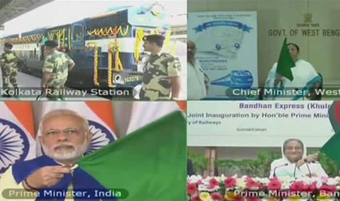 PM Modi flags off Kolkata-Khulna Bandhan Express with Sheikh Hasina, Mamata