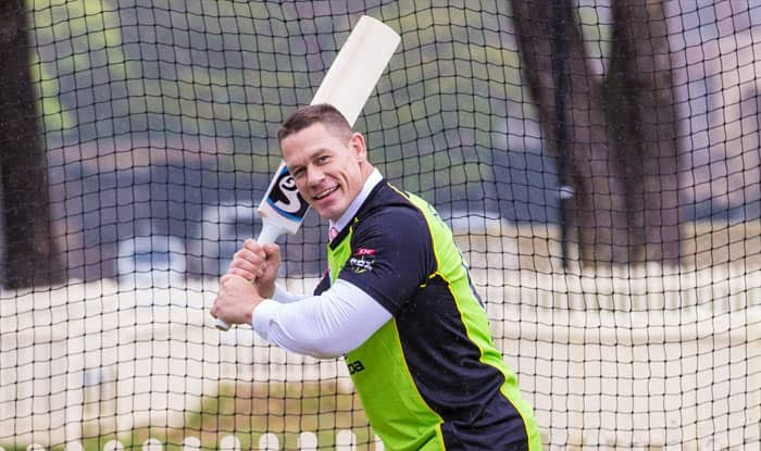 WWE star John Cena tries hand at cricket