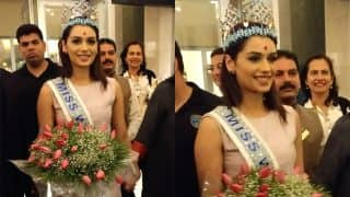 Miss World 2017 Manushi Chhillar Arrives in India, Receives Grand Welcome in Mumbai (Pictures)