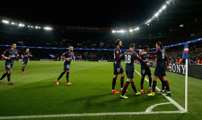 Layvin Kurzawa of PSG celebrates with team mates during the UEFA Champions League group B match against Anderlecht | Getty Images
