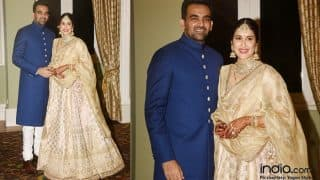 Sagarika Ghatge And Zaheer Khan's Wedding Reception : The Newly Married Couple Up Their Style Game Yet Again  - View Pics