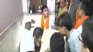 UP Civic Polls 2017: 'Tired' BJP MLA Nand Gopal Gets Foot Massage From BJP Workers After Campaigning