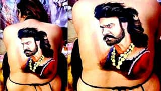 Prabhas' Crazy Female Fan Paints Her Back With A Picture Of Baahubali's Character