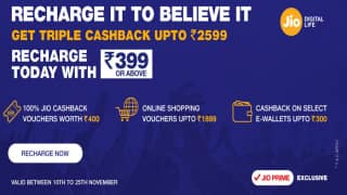 Reliance Jio Triple Cashback Offer: Recharge For Rs 399 and Above and Get Rs 2,599 Cashback Until November 25