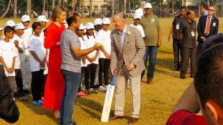 King Philippe And Queen Mathilde of Belgium Play Cricket at Mumbai's Oval Maidan Along With Virender Sehwag