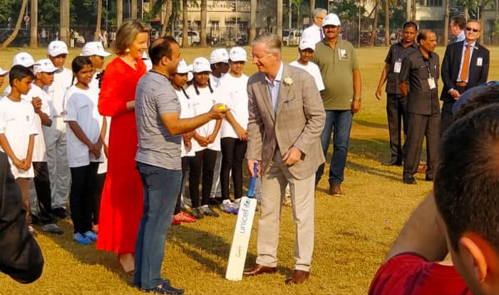 Belgium's King Philippe, Queen Mathilde, Virender Sehwag play cricket at Oval Maidan