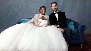 Serena Dazzles in White Flowing Wedding Gown