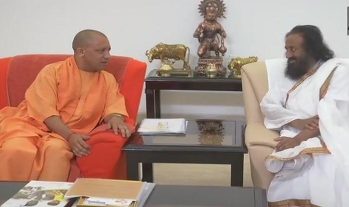 Sri SRi Ravi Shankar meets Yogi Adityanath (ANI)