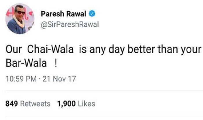 Paresh Rawal Deletes 'Chai Wala vs Bar Wala' Tweet, Issues Apology