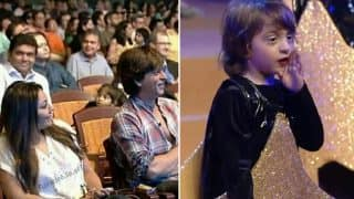 An Excited Shah Rukh Khan, Suhana, And Aishwarya Rai Bachchan Enjoy AbRam's Performance As He Dances To A Song From Swades