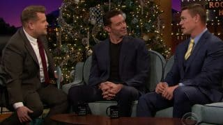 Hugh Jackman's Reverse Trash Talk to WWE Wrestler John Cena on James Corden Show is the Best Video Ever