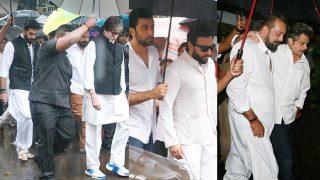Shashi Kapoor Funeral Pics: Amitabh Bachchan,  Shah Rukh Khan, Abhishek Bachchan, Ranbir Kapoor, Saif Ali Khan Attend The Veteran Actor's Last Rites